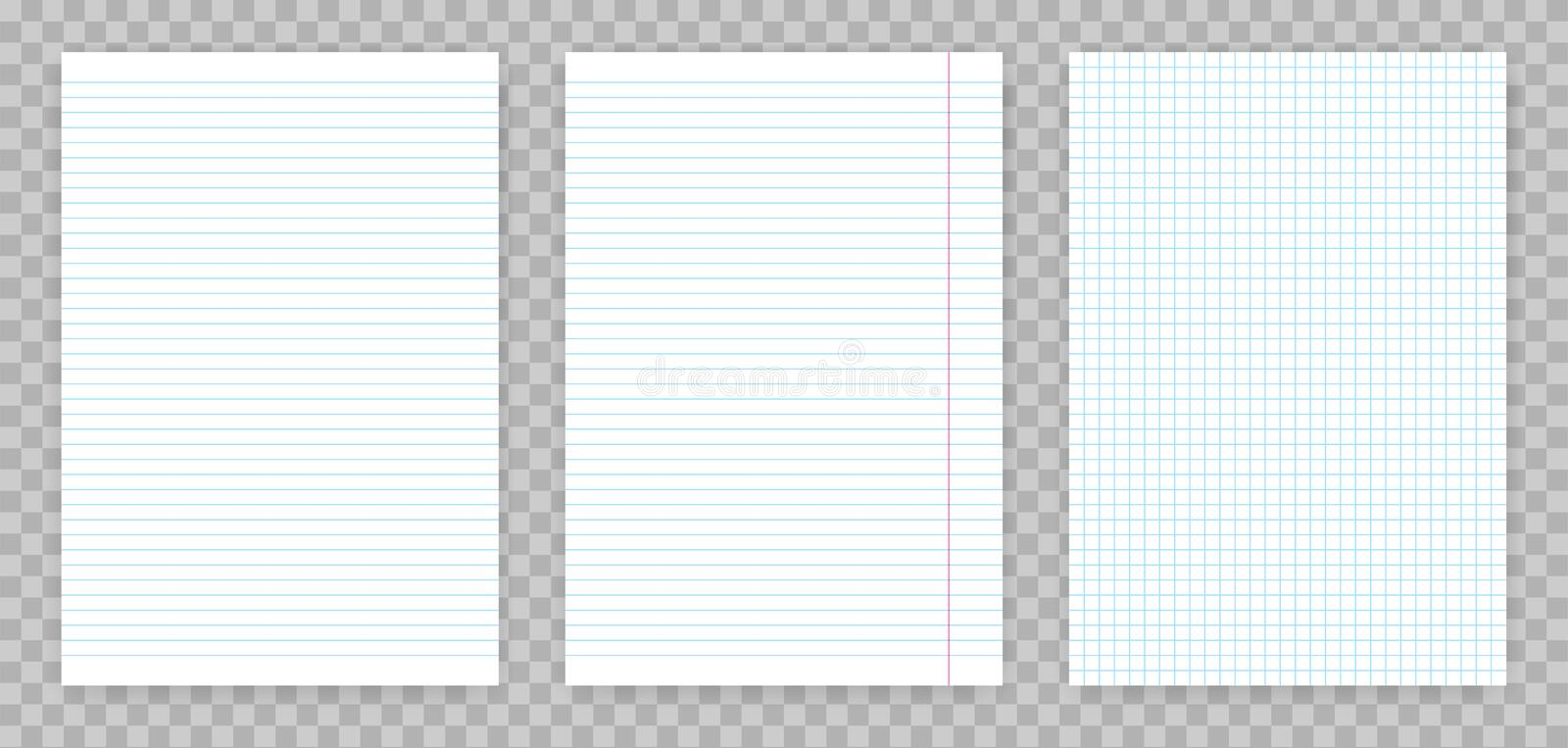 Squared and lined paper sheets of notebook or copybook. Vector realistic paper sheet of lines and squares notepad pages set isolat royalty free illustration