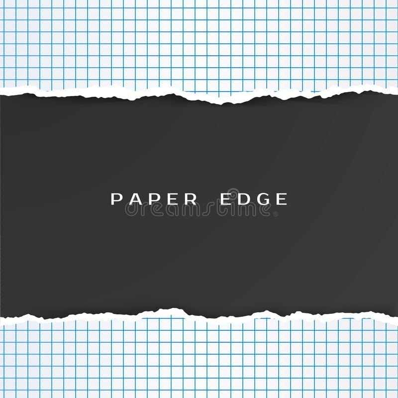 Squared Paper with Torn Edge. Checkered Geometry Paper Pattern. Vector illustration vector illustration