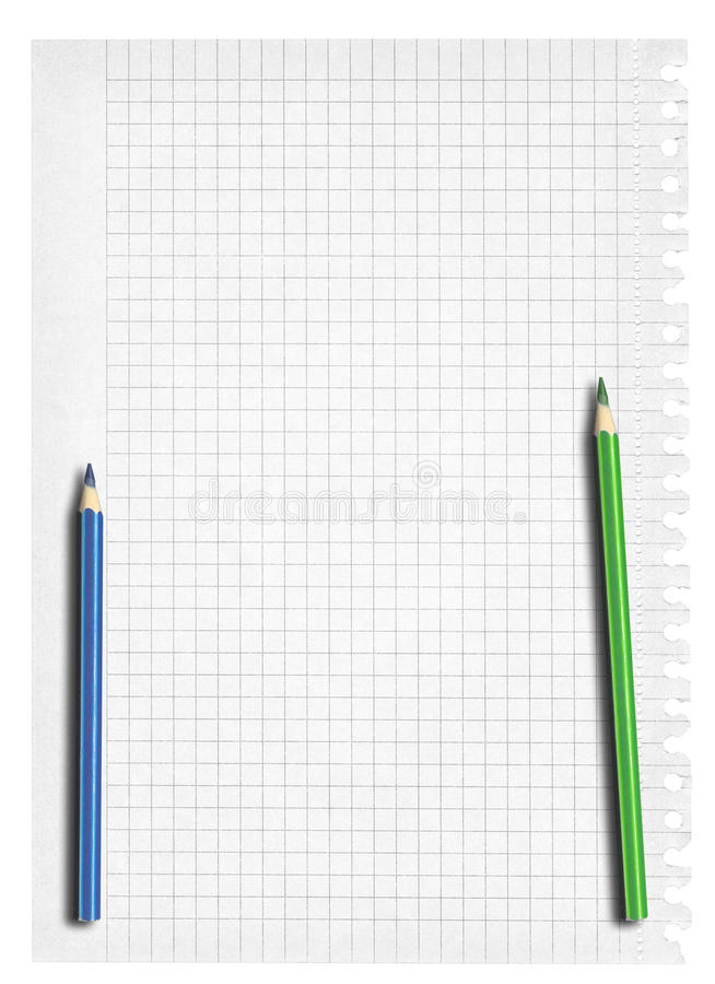 Download Squared Paper And Two Pencil Stock Photo - Image of notebook, shot: 25152428