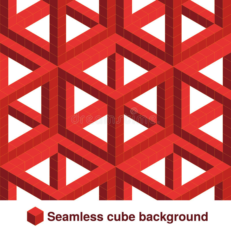 Free Squared Pattern. Seamless Geometric Texture In Red Color. Effect Stylish Tiles. 3d Abstract Dynamic Background Created Of Cubes. Royalty Free Stock Images - 77653059