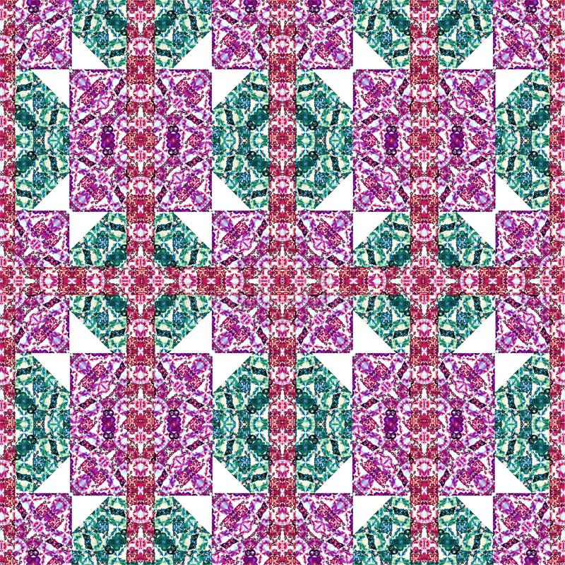 Squares and Diamonds Motif Boho Style Check Pattern royalty free illustration