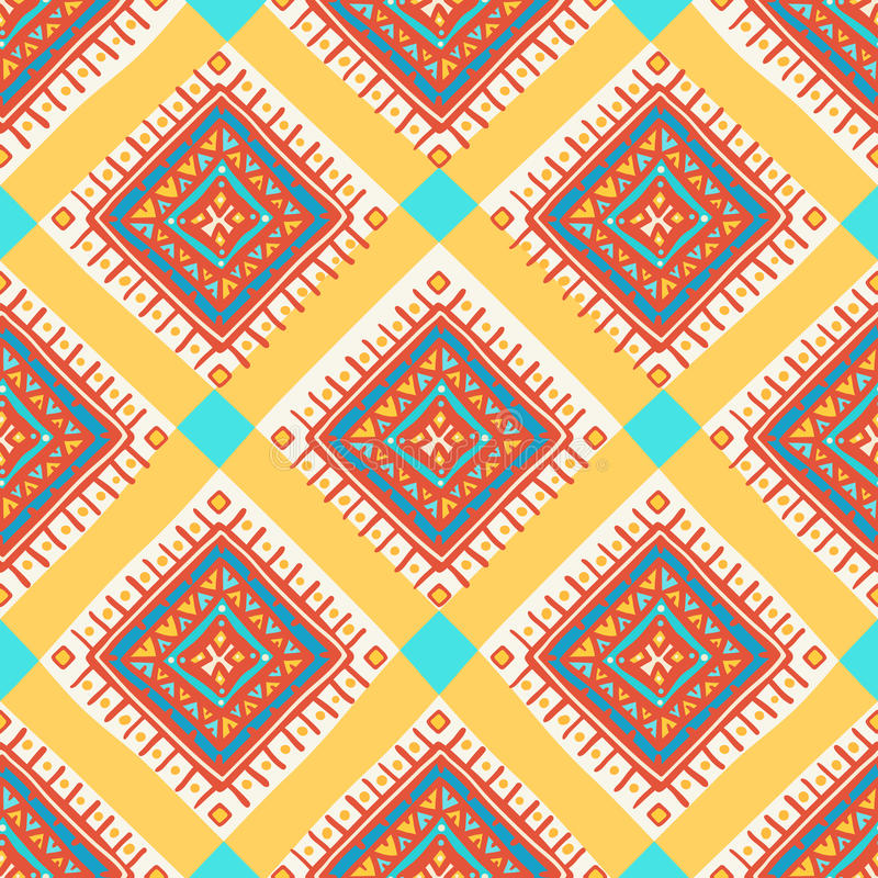 Squares and dots. Abstract tribal pattern with squares and dots stock illustration