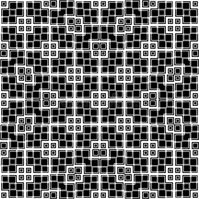 Squares Motif Seamless Pattern. Digital abstract geometric seamless pattern design in high constrast black and white colors stock illustration