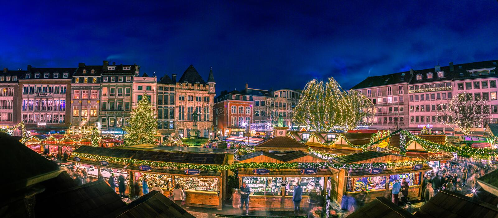 Aachen Christmas village. Squares and streets round the cathedral and the Aachen Town Hall are transformed into a paradise of lights and colors