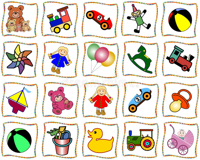 Squares with toys vector illustration