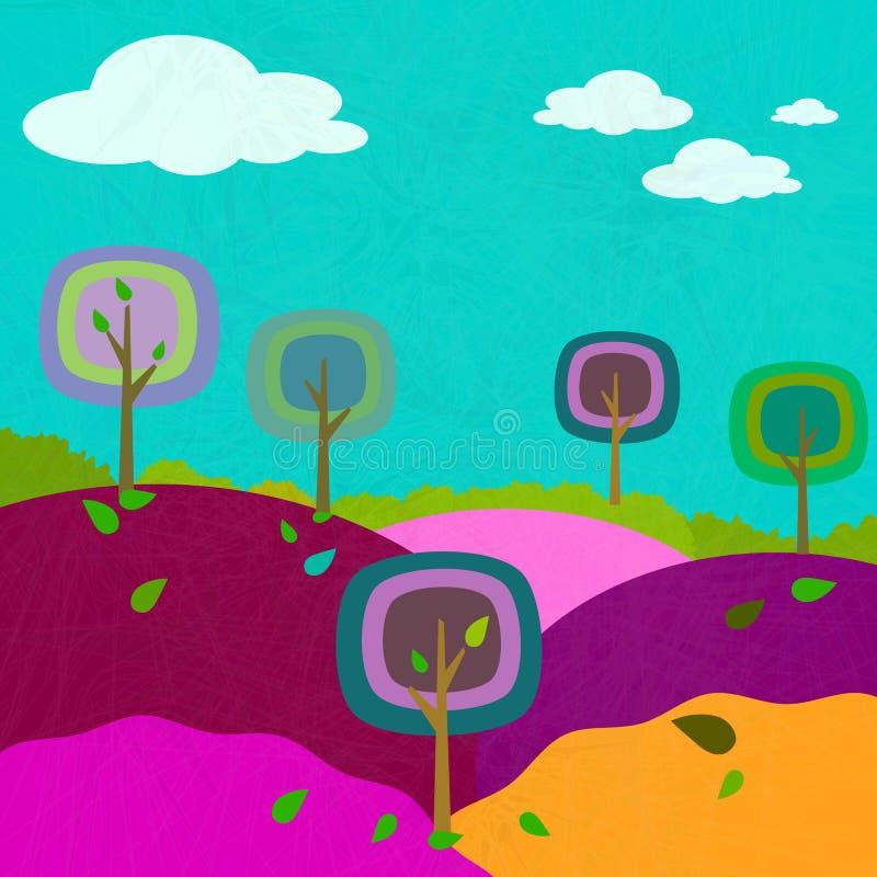 Squares trees landscape background vector illustration