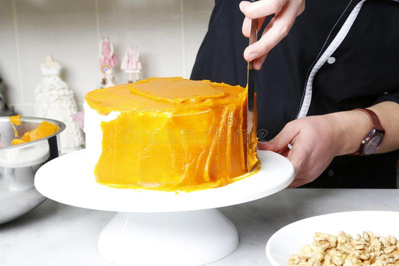 Squash cake making, pastry, patisserie royalty free stock photo