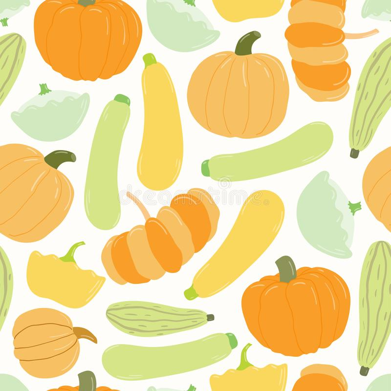 Squash harvest seamless pattern vector illustration