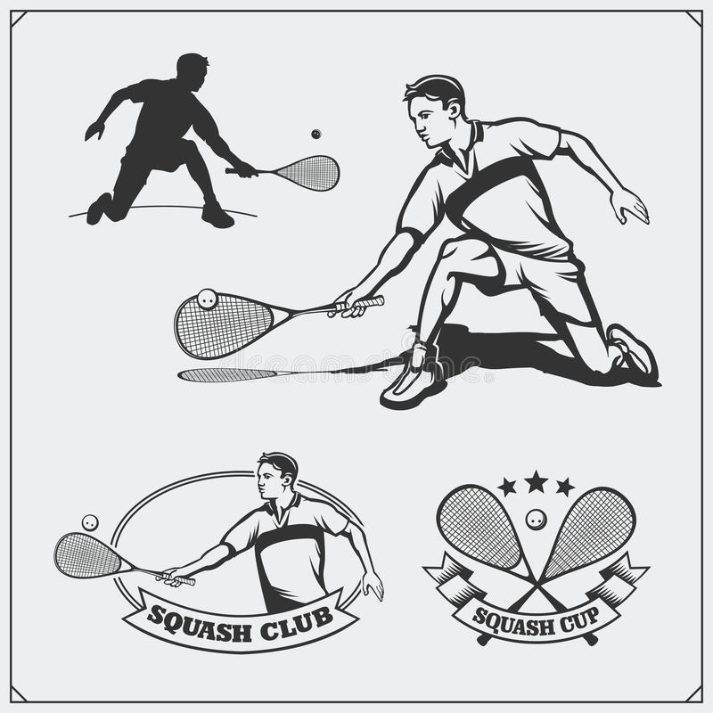 Squash labels, emblems, badges, design elements and silhouette of player. Black and white vector illustration
