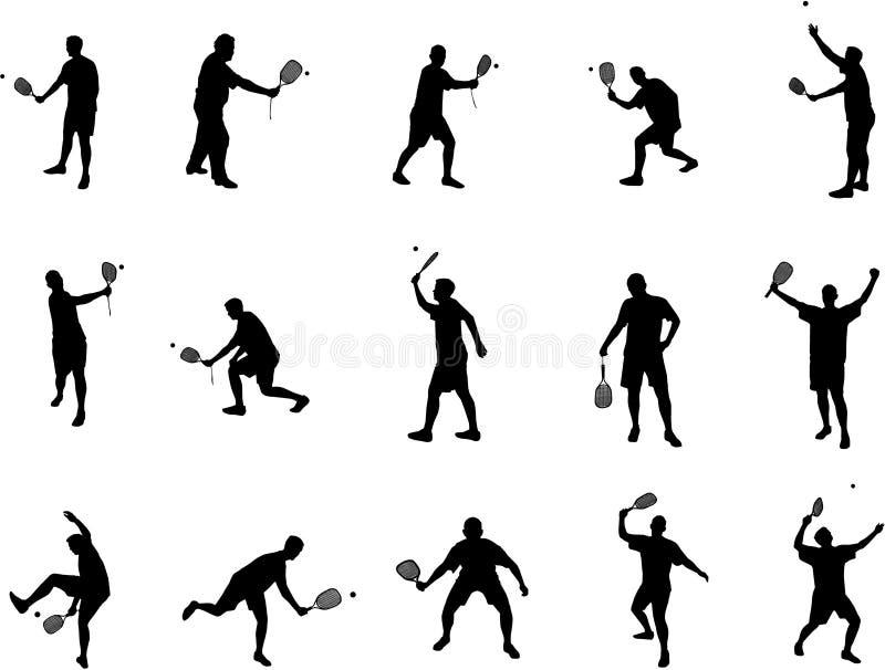 Squash player silhouettes royalty free stock photos