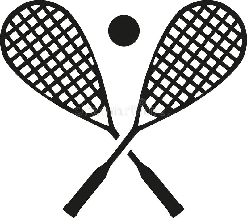 Squash rackets with ball. Vector royalty free illustration