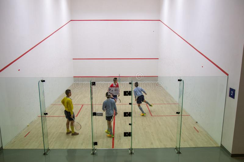 Squash Room with player in competition stock photography