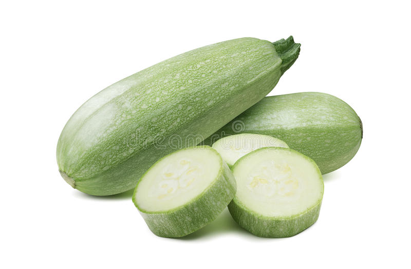 Squash zucchini whole pieces combo isolated royalty free stock image