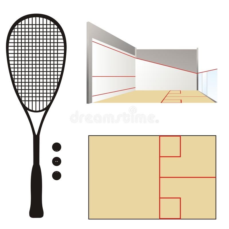 Squashdomstol & racket stock illustrationer