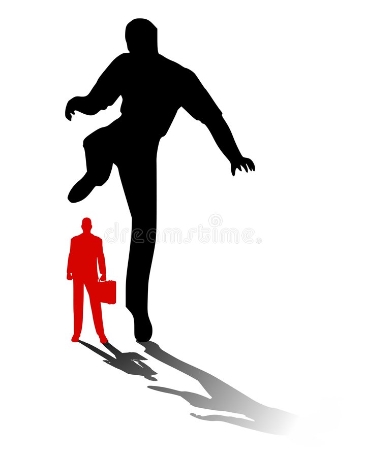 Squashing The Competition. An illustration featuring a man stepping on a smaller man in red with briefcase to represent the concept of'squashing' the competition vector illustration