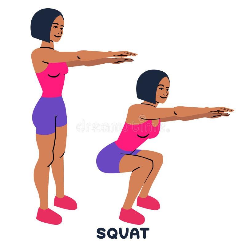 squat Αθλητικό exersice Σκιαγραφίες της γυναίκας που κάνουν την άσκηση Workout, κατάρτιση διανυσματική απεικόνιση