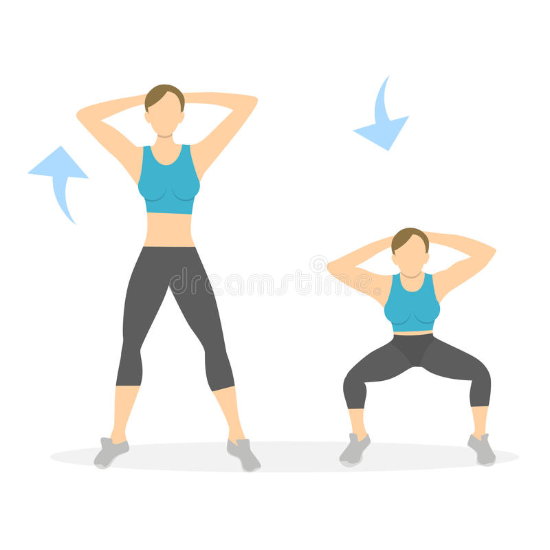 Squatsövning för ben stock illustrationer