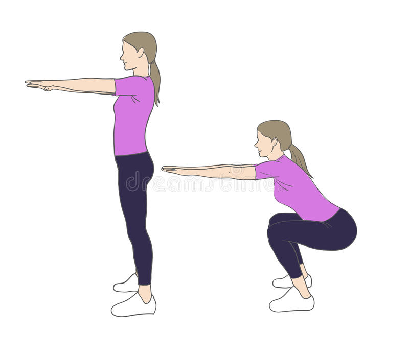 Squats. Digital illustration of a fittness woman doing squats stock illustration