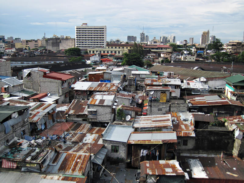Squatter Shacks and Houses in a Slum Urban Area stock photography