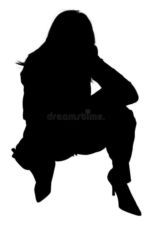 squatting kvinna för silhouette stock illustrationer