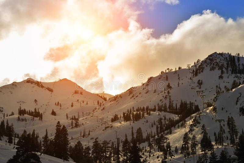 Squaw Valley ski resort. In late afternoon royalty free stock images