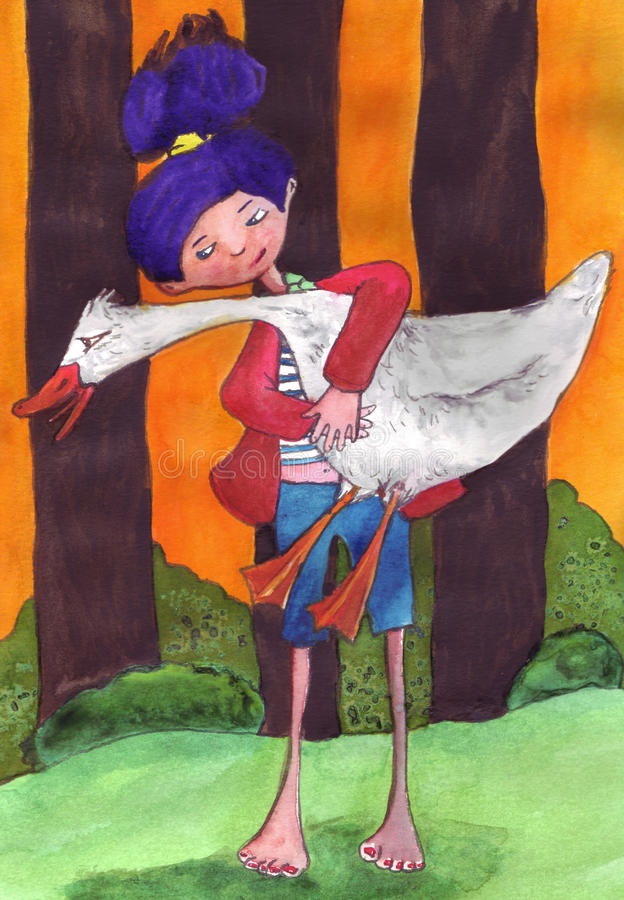 Squawking goose in the woods royalty free illustration