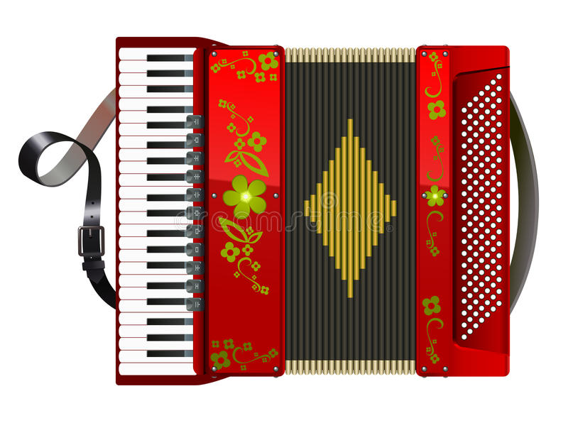 Squeezed red accordion. Front view vector illustration
