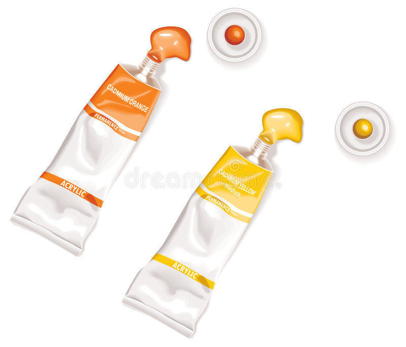 Squeezed Yellow And Orange Tubes Of Acrylic Paints Royalty Free Stock Images