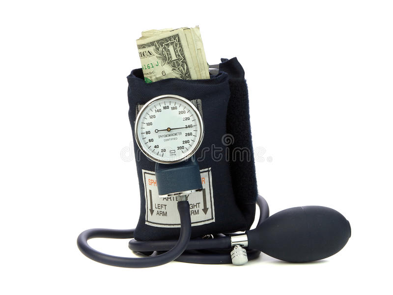 Squeezing Money With Blood Pressure Cuff. Blood Pressure cuff squeezing money symbolic of a money crunch stock images