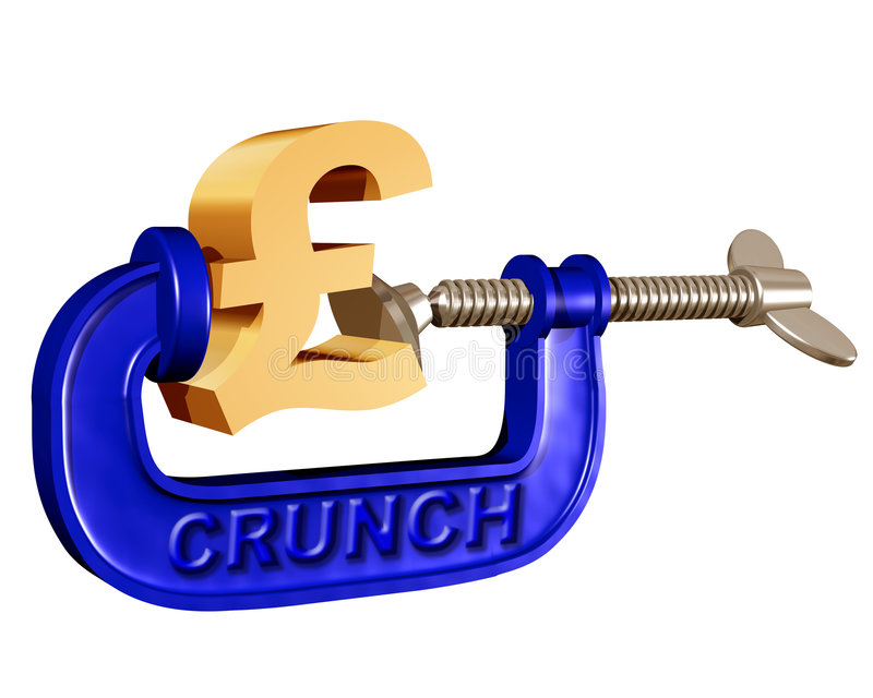 Squeezing the Pound. Illustration of a pound symbol being squeezed in a crunch clamp