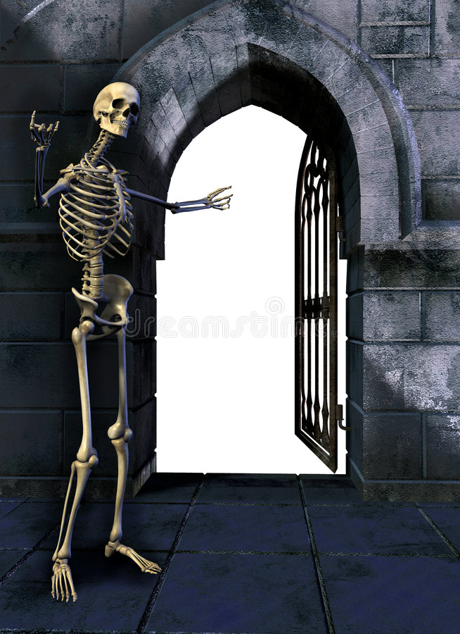 Squelette avec la porte illustration libre de droits