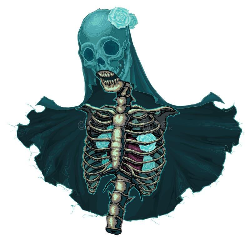 Squelette avec le voile et les roses blanches illustration stock
