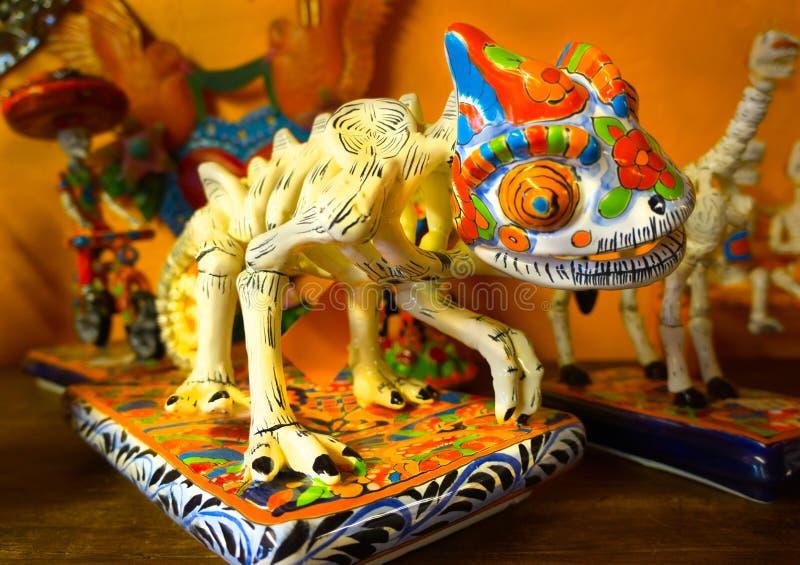 Squelette d'iguane de lézard de visibilité directe Muertos images libres de droits