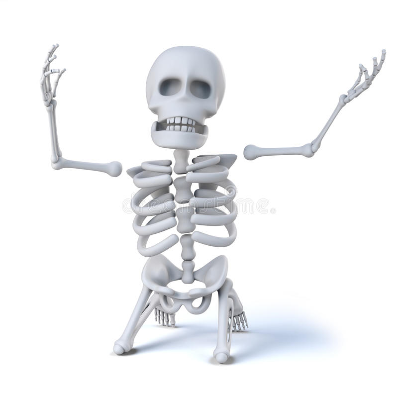 squelette 3d sur ses genoux dans les puits du désespoir illustration de vecteur