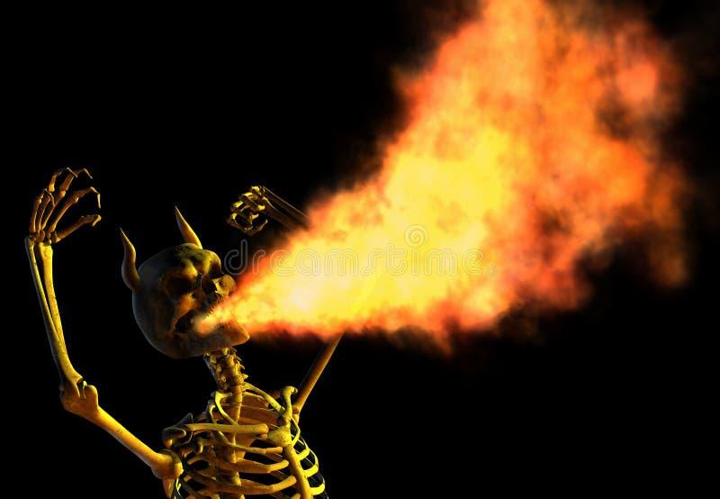 Squelette de respiration de démon d'incendie illustration libre de droits