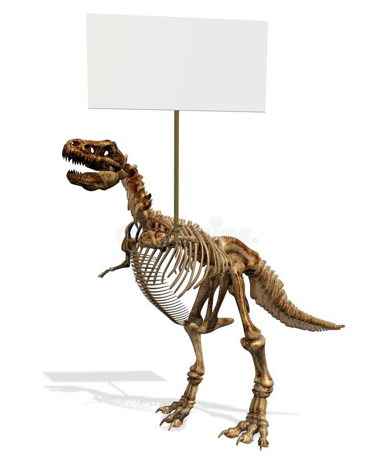 Squelette de T-Rex avec le signe blanc illustration libre de droits
