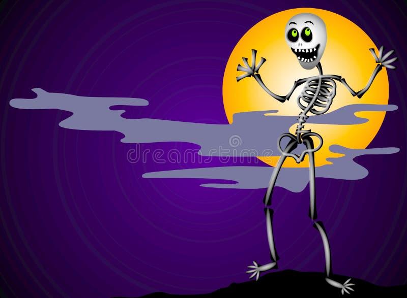 Squelette de Veille de la toussaint la nuit illustration stock