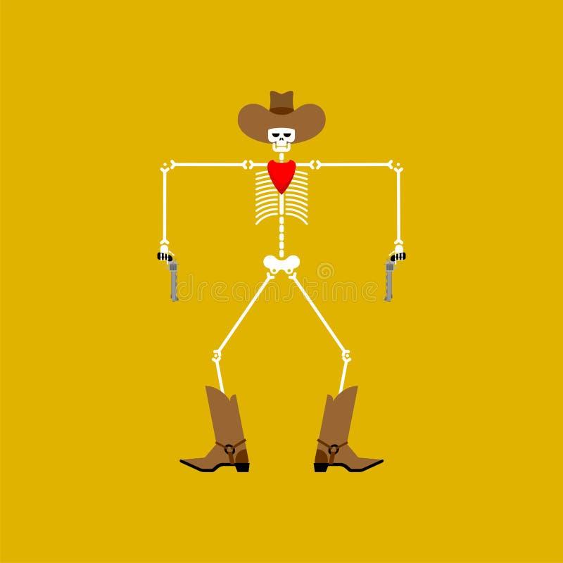 Squelette et arme à feu de cowboy Bandit mort occidental sauvage Homme occidental illustration de vecteur