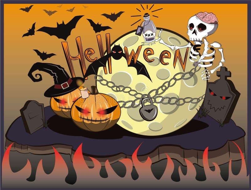 Squelette et lune de Halloween Battes au-dessus du cimetière illustration stock
