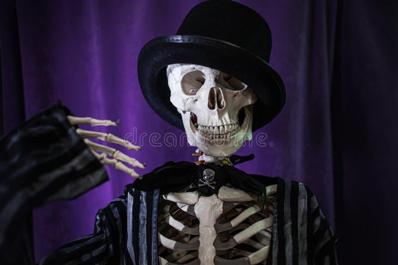 Squelette humain amusant dans une veste et un chapeau de bowler Halloween, image libre de droits