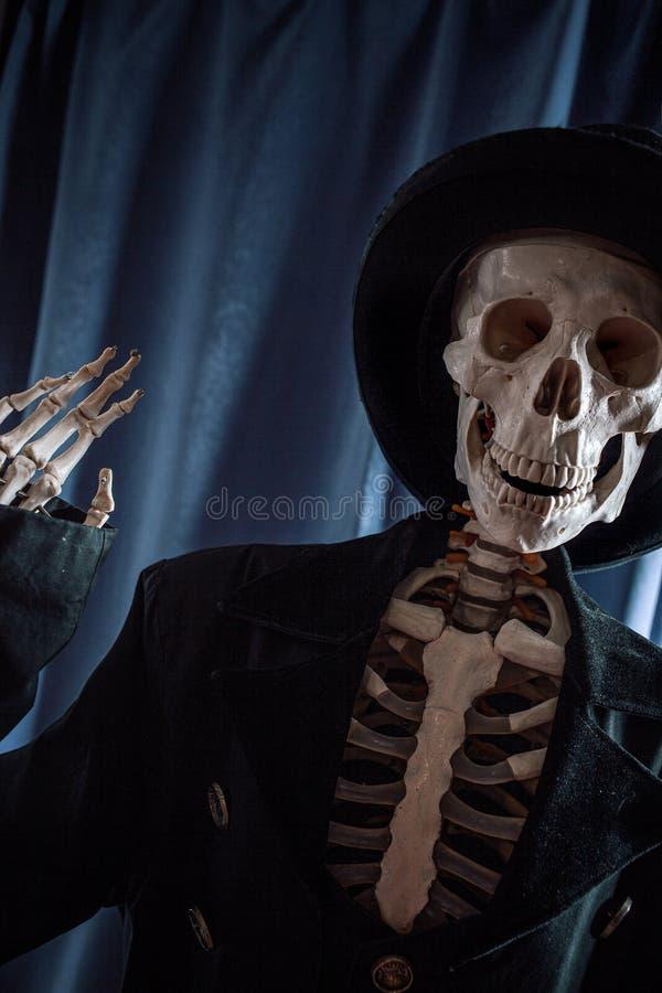 Squelette humain amusant dans une veste et un chapeau de bowler photographie stock