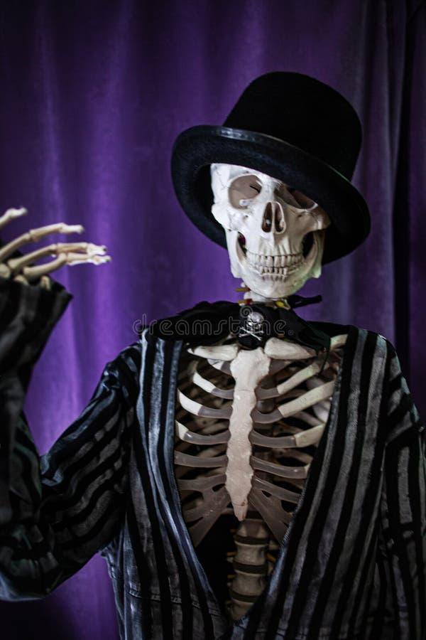 Squelette humain amusant dans une veste et un chapeau de bowler Halloween, image stock