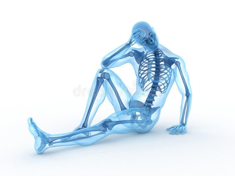 Squelette mâle se reposant illustration de vecteur