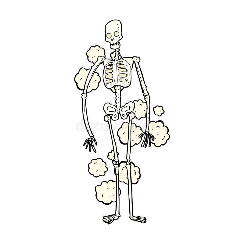 squelette poussiéreux de bande dessinée comique vieux illustration libre de droits
