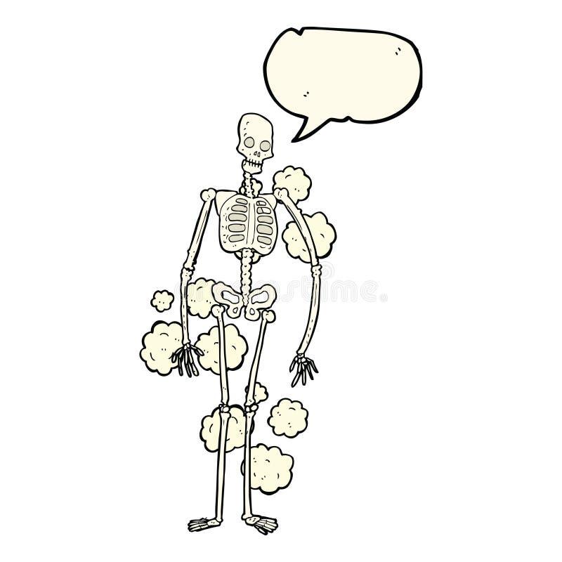 squelette poussiéreux de bande dessinée vieux avec la bulle de la parole illustration de vecteur