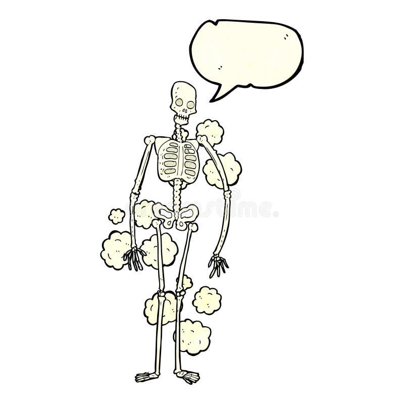 squelette poussiéreux de bande dessinée vieux avec la bulle de la parole illustration libre de droits