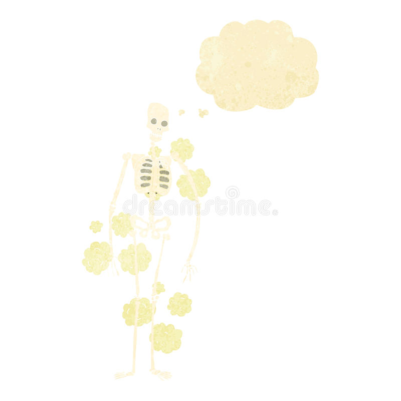 squelette poussiéreux de bande dessinée vieux avec la bulle de pensée illustration stock