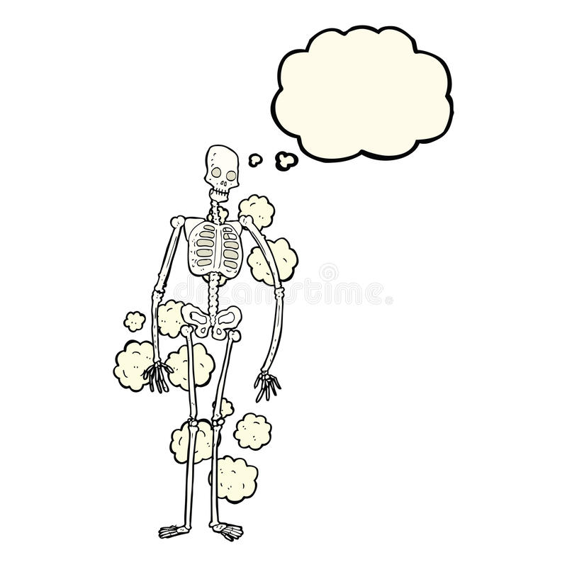 squelette poussiéreux de bande dessinée vieux avec la bulle de pensée illustration de vecteur