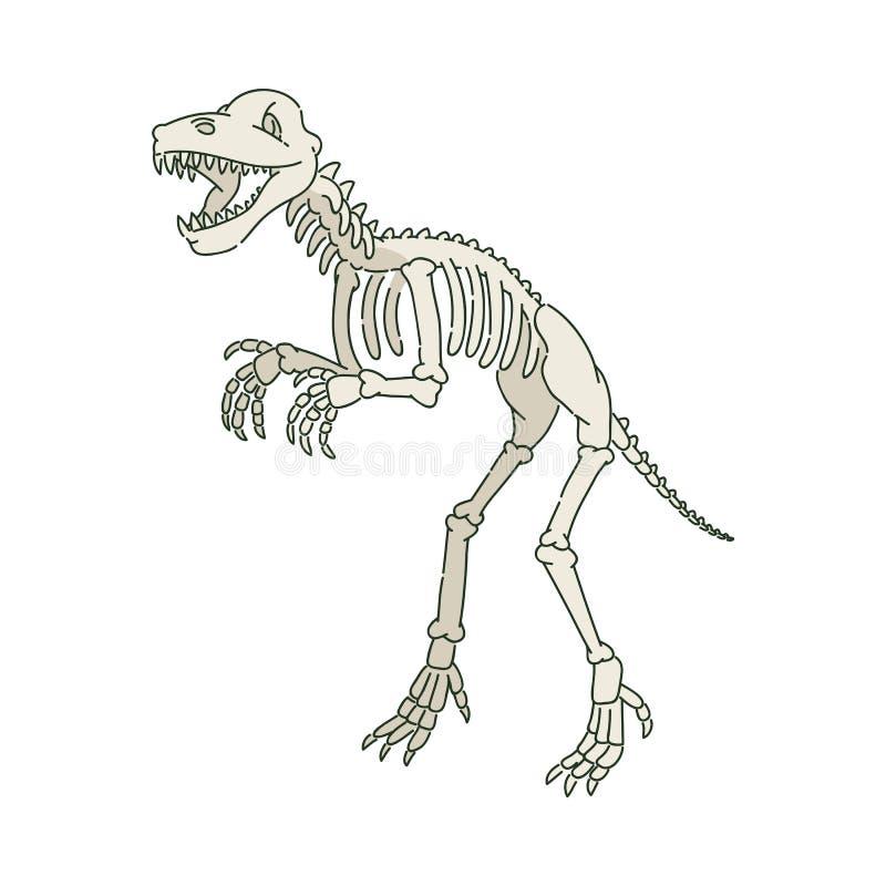 Squelette préhistorique antique de dinosaure dans le style de croquis illustration de vecteur