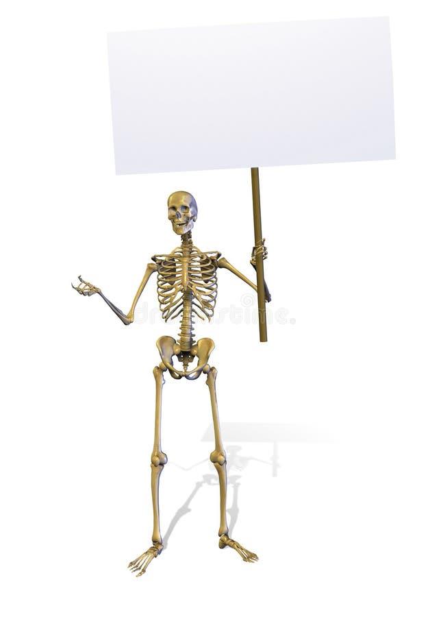 Squelette retenant un signe blanc - comprend le chemin de découpage illustration de vecteur